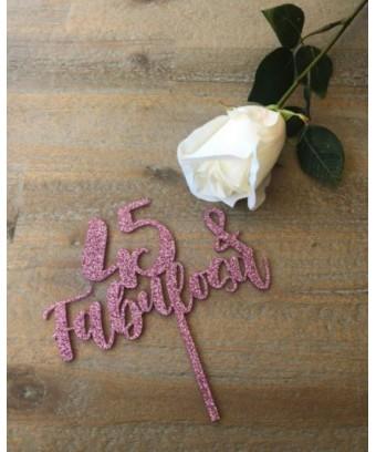 Topper 45 años - Rosa glitter