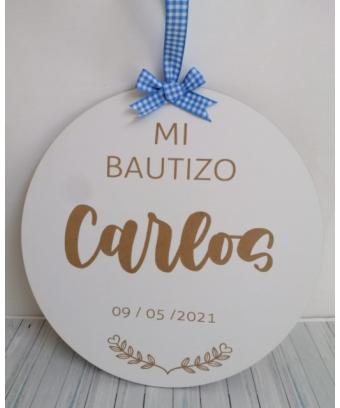 Placa redonda Bautizo...